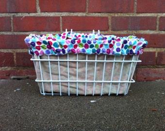 Bicycle Basket Liner Tote Bag: Polka Dots and Khaki