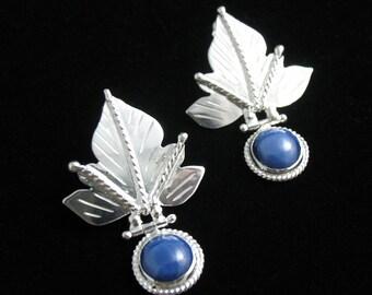 Woodland Leaves Nature Autumn Earrings, Sterling Silver Movable Leaf Earrings, Elvish Leaf Earrings, Gemstone Leaf Earrings, Fae Woodland