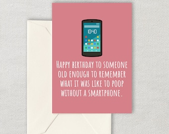 Funny Printable Birthday Card - Sarcasm Printable Card - Poop Without Smartphone - Instant Download - Friend Birthday Card