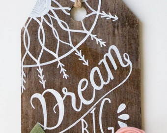 Rustic Small Hanging Wood Tag Decor