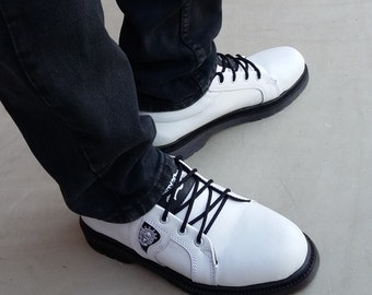 white leather shoes handmade Rangkayo sneakers men women tie shoes