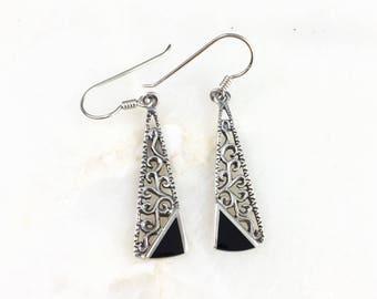 Vintage Sterling Filigree Onyx Earrings