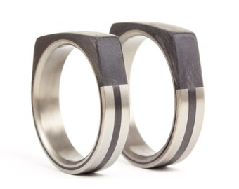 Set of two titanium and carbon fiber wedding bands. Faceted design black rings. Water resistant and hypoallergenic. (00321_5N7N)