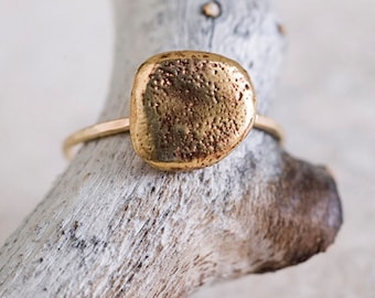 14k Gold and Bronze Small Rock Ring | Statement Ring | Stacking Ring | Nature Inspired