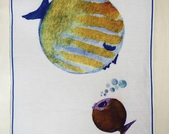 Linen panel. Digital watercolor print with fish