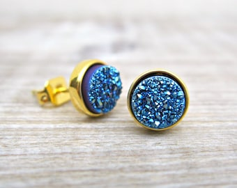 Blue druzy earrings, bridal earrings, druzy studs, great gatsby jewelry, tiny studs, bridesmaid gift, raw stone earrings, uk earrings