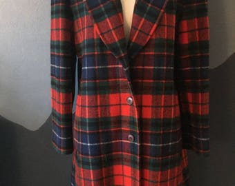 Vintage Pendleton Wool Plaid Winter Coat With Matching Vintage Plaid Hat! Wool Holiday Coat- Tartan Warm Wool Coat- Vintage 1970s- Size 12
