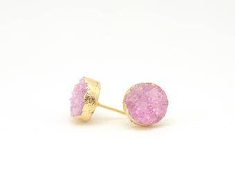 Pink Druzy Earrings • Druzy Stud Earrings • Bridesmaids Druzy Earrings • Goldplated Druzy Earrings • Wedding Jewelry • Bridesmaids Gifts