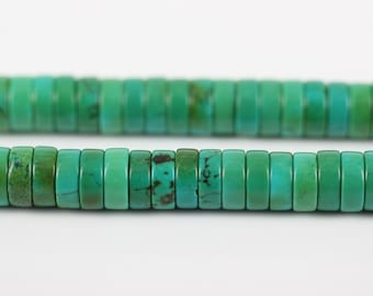Full strand Tiny Natural Green Turquoise Drilled Spacer Beads Pendants Supplies,Howlite Turquoise Disc Heishi Loose Beads Necklace Findings