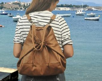 """Leather Backpack,Shoulder bag,Cross body bag, in """"vintage""""light brown, named Mara MADE TO ORDER"""