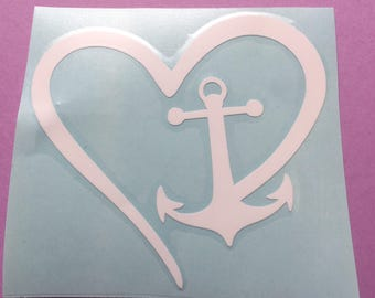 Anchor heart decal