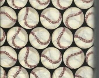 Shamash & Sons Quilting Cotton Fabric Black with Baseballs 129255 - 1/2 Yard