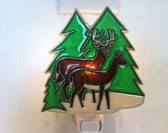 Christmas Reindeer in Snow night Light with  4 watt  on/off switch