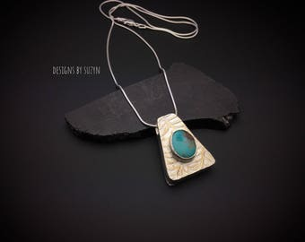 ON SALE.  Reversible Sterling silver and turquoise pendant with snake chain