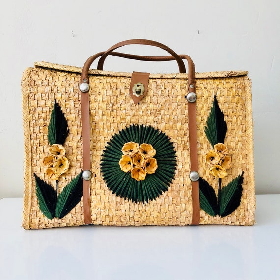 Vintage Woven Rattan Floral Tote Bag Woven Straw Beach Tote Black and Green Yarn Embroidered Leaves Yellow Flower Travel Tote