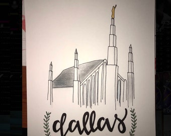 Hand Illustrated LDS Temples. Multiple options.