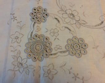 Vintage Embroidered and crochet insert tablecloth