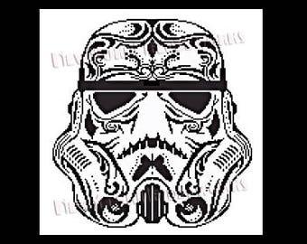 Star Wars Cross Stitch, Storm Trooper Sugar Skull, Star Wars Pattern, Sugar Skull, Star Wars, Crochet, Cross Stitch, NewYorkNeedleworks Etsy