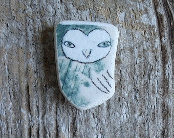 Green Beach Pottery Owl
