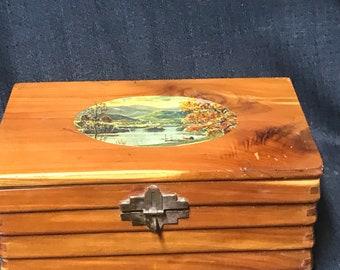 Vintage Box Wood Cedar Jewelry Box Antique Wooden Box