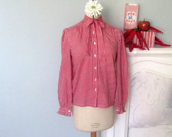 Gingham Blouse, Red Gingham Top, Long Sleeve Blouse, Gingham Top, Red Gingham Top, Sweet Lolita Blouse, Red Gingham Blouse, Vintage Red Top