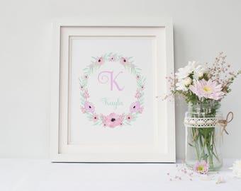 Nursery decor, baby girl nursery wall art girl, girl nursery decor, nursery art, flower wall art, flower wall decor, flower prints wall art
