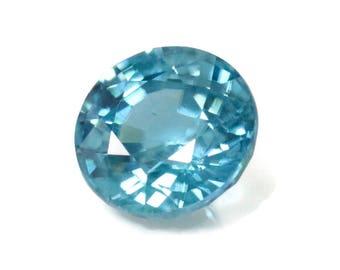 Natural Blue Zircon Gemstone Faceted Blue Zircon Loose Stone December Birthstone Genuine Cambodia Blue Zircon  8.5mm 4.46ct  and 9mm 5.37 ct