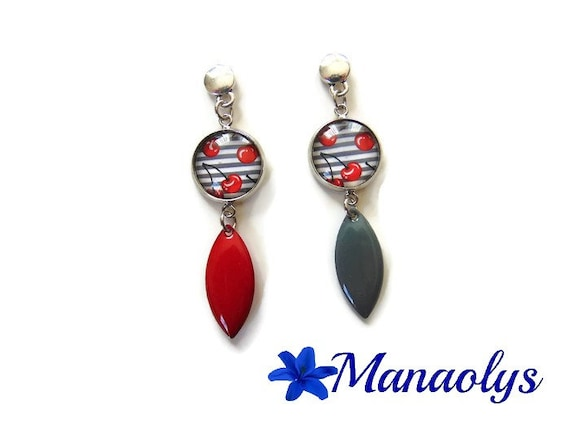 Mismatched cherry cabochons, studs, red and gray enamel pendants, earrings enamel earrings