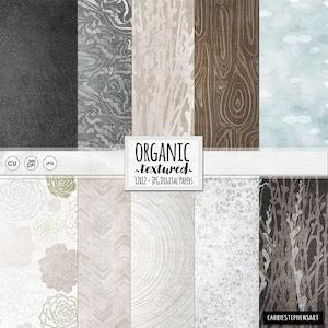 Organic Nature Digital Paper, Wood Pattern Paper, Photography Backdrop, Woodland Wedding, Instant Download Digital Background, Neutral