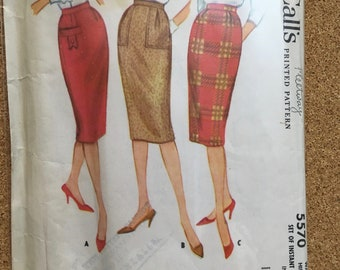 Vintage McCall's 5570 sheath skirt sewing pattern