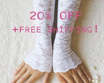 White lace gloves bridal gloves opera gloves wedding gloves FREE SHIPPING