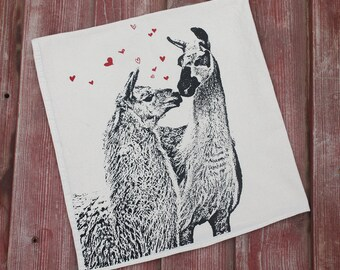 Llama Love, Llama Tea Towel - Hand Printed Flour Sack Tea Towel
