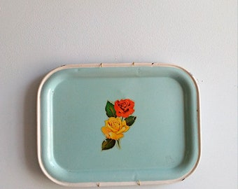 Vintage Metal Serving Tray. Serving Table in Green Water with Roses in the Center of the 60's.