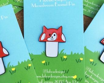 Meowshroom - Mushroom Cat pin , cat pin, mushroom pin, mushroom kitty pin, lapel pin badge, pin, HibouDesigns