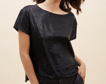Black Metallic Shirt, Black Top, Metallic T, Tops For Summer