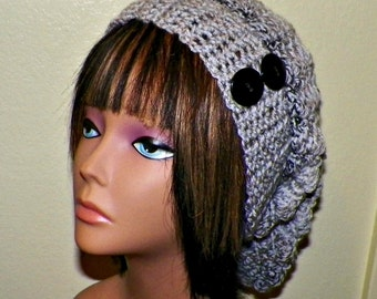 Gray Black Slouchy Hat  Crochet Womens Tam Beret Boho Chunky Beanie Rasta With Light Dark Stripes