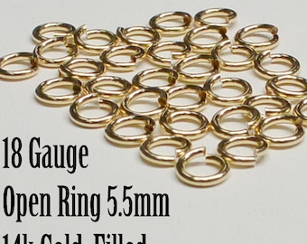 Gold Filled Open Ring, 18 Gauge, 5.5mm , Sold in packs of 10 Pieces, USA, Bulk Savings Available!!!