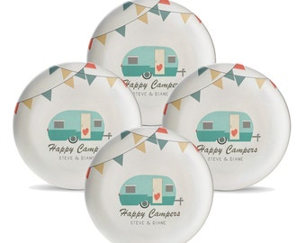 """Set of 4 Personalized Camping Plates, Personalized Melamine Travel Trailer 10"""" Plate Set, Camper Plates, Camping Decor, RV Dinnerware"""
