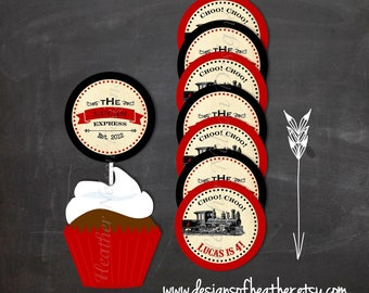 Vintage Train Digital Circles- Tags, Stickers, or Cupcake Toppers