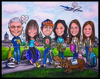 Custom caricature, retirement gift, retirement women, retirement men, portrait family, portrait cartoon, portrait caricature,