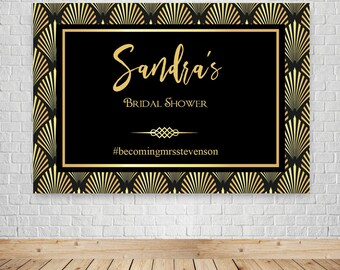 DIGITAL Art: Black and Gold party backdrop banner, great gatsby, art deco, roaring twenties party theme