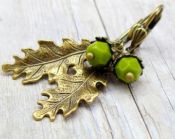 Wasabi Green Acorn earrings - vintage style antique brass earrings, fall, autumn, nature, woodland jewelry