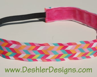 Non-Slip Headband - Pink Herringbone Ribbon - THIN size - great athletic headband