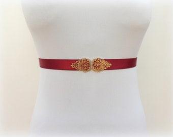 Burgundy belt. Elastic waist belt. Gold filigree sash belt. Woman's accessories. Dress belt.