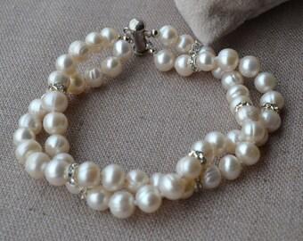 pearl jewelry pearl bracelet -crystal bracelet,2 rows pearl bracelet,8 inches 7-8mm ivory Freshwater pearl Bracelet,real pearl bracelet
