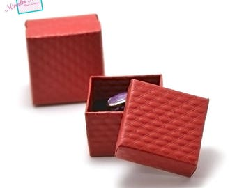 """2 boxes / caskets """"United"""" square ring 55 x 55 x 35 mm, Red"""