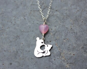 Kissing Bears Necklace - sterling silver tiny teddy bears & pink glass heart - baby, son, daughter, anniversary, wedding - free shipping USA
