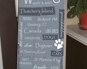 Parents Gift, Wedding Gift,  Mother of the Bride, Father of the Bride, Personalized Wedding Gift, Anniversary Gift, 12 x 20 Birch Wood