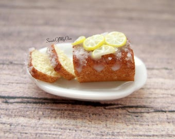 Miniature Lemon Cake - Lemon Drizzle Cake - Dolls House Miniature Food - Bakery Item for Doll House 1:12 Scale - Made in the UK