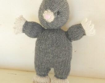 Handknit Stuffed Animal - Mole -  Plush Natural Toy - Woodland Friend Waldorf Toy READY TO SHIP
